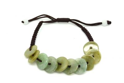 Small Jade Bracelet mounted on a cotton rope
