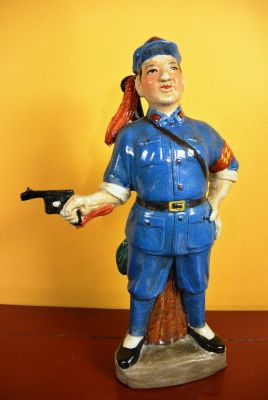 Soldier bisque pottery statue