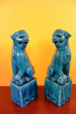 Fu Dog pair in porcelain Blue