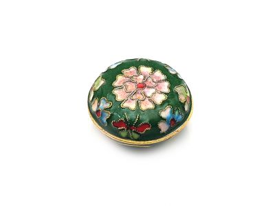Very Small Chinese Cloisonné Enamel Box Green