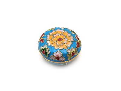 Very Small Chinese Cloisonné Enamel Box Light Blue