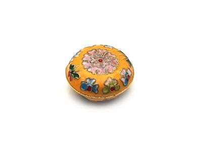 Very Small Chinese Cloisonné Enamel Box Yellow