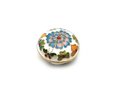 Very Small Chinese Cloisonné Enamel Box White