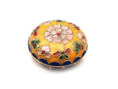 Small Chinese Cloisonné Enamel Box Yellow