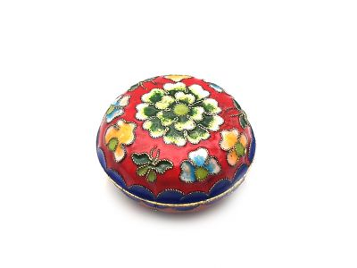 Small Chinese Cloisonné Enamel Box Red