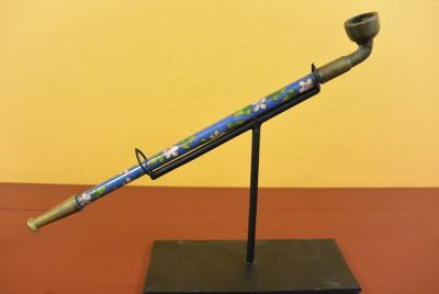 Chinese Pipe in Cloisonné Blue