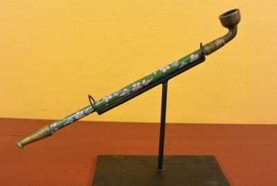 Chinese Pipe in Cloisonné Green