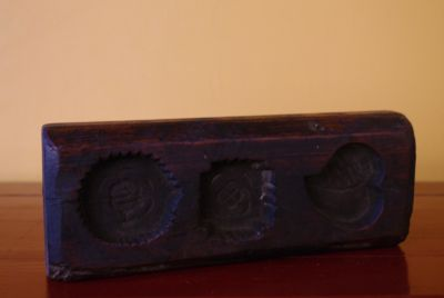 Old Handcarved Wooden Mooncake Mold Double
