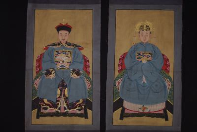 Chinese ancestors couple Painting from China Sky Blue