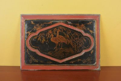 Chinese wood panel Painting Common crane