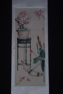 Chinese Painting Watercolor on silk the Garden