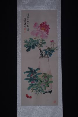 Chinese Painting Watercolor on silk Peony