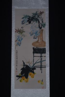 Chinese Painting Watercolor on silk Flowers bouquet