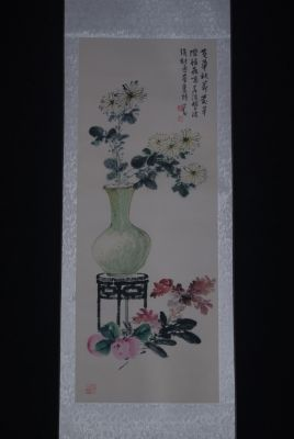 Chinese Painting Watercolor on silk White Flowers