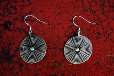 Miao Ethnic Earrings Small Spiral