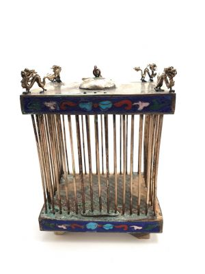 Large Old Chinese cricket Blue cage in Cloisonne Metal