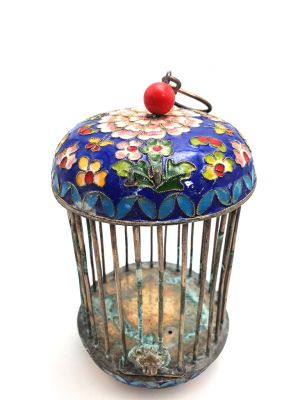 Large Metal Cloisonné Crickets Boxe Flower Blue