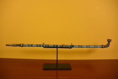 Large Chinese Pipe in Cloisonné Light Blue
