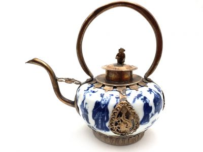 Chinese Porcelain Teapot White and Blue