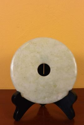 Small Chinese Bi Disk in jade White with green reflections