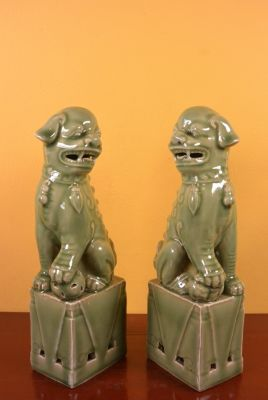 Fu Dog pair in porcelain Celadon green