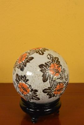 Porcelain Chinese Ball with Stand Oranges flowers
