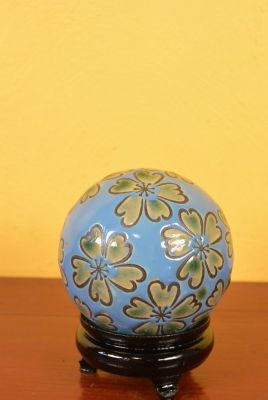 Porcelain Chinese Ball with Stand Blue