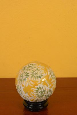 Small Porcelain Chinese Ball with Stand Yellow