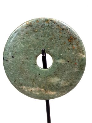 Small Chinese Bi Disk with wooden stand Green