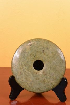 Small Chinese Bi Disk with wooden stand Green Tone