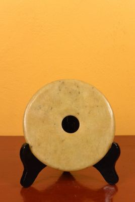 Small Chinese Bi Disk with wooden stand Yellow tones
