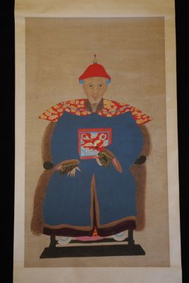 Large Chinese Dignitary painting on Paper Night Blue