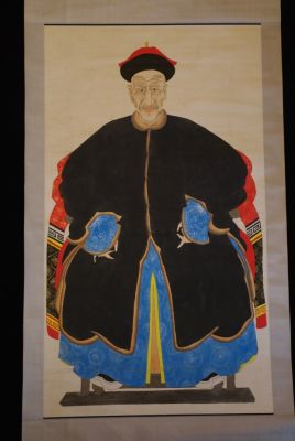 Large Chinese Dignitary painting on Paper Old Man