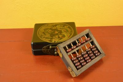 Small Chinese Box black with a dragon with a wooden abacus