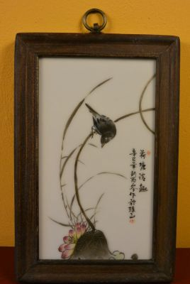 Chinese Wood and Porcelain Panel Bird Lotus