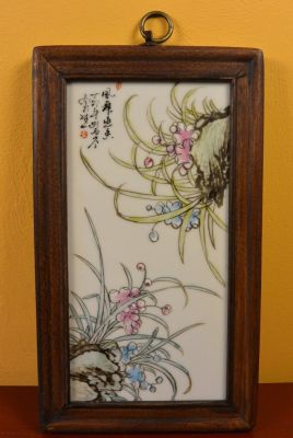 Chinese Wood and Porcelain Panel Flowers