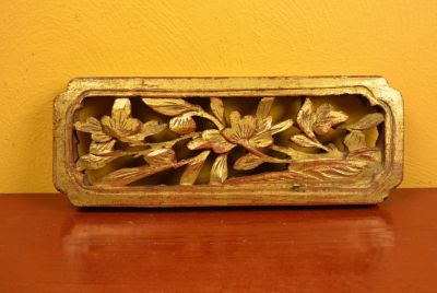 Old Asian Panel in Wood Flowers