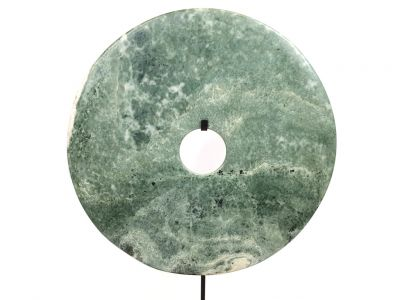 Very Large Chinese Bi Disc in Jade 35cm Green and Grey