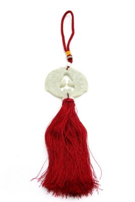 Feng Shui Chic Jade Tassel Double fish