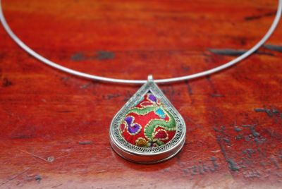 Ethnic Necklace Embroidery Water Drop Red