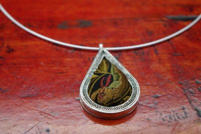 Ethnic Necklace Embroidery Pendant water drop