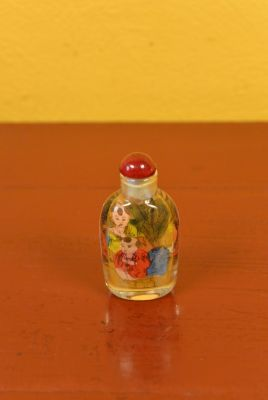 Small Chinese Glass Snuff Bottle Shaolin Monk