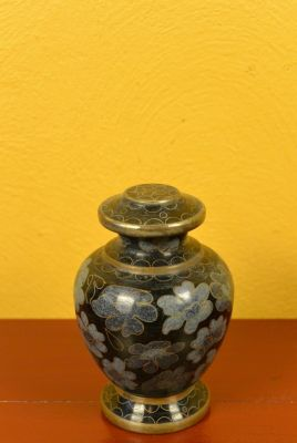 Potiche or Vase in Cloisonné Black Flowers