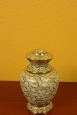 Potiche or Vase in Cloisonné Yellow Beige
