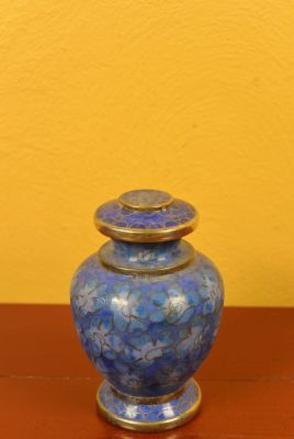 Potiche or Vase in Cloisonné Blue Flowers