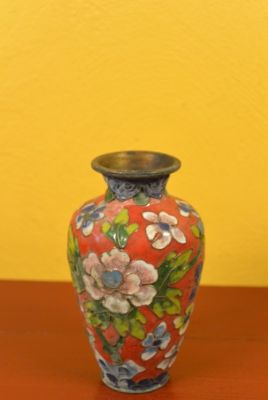 SmallVase in Cloisonné Red Flowers