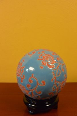 Porcelain Chinese Ball with Stand Red and Blue