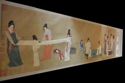 Very Large Chinese Kakemono Painting Court Ladies