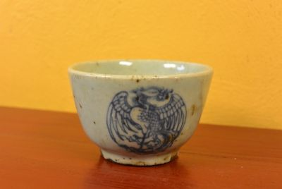 Small Chinese bowl or glass in porcelain Phoenix
