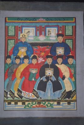 Ancestors and Dignitaries family 9 people Qing
